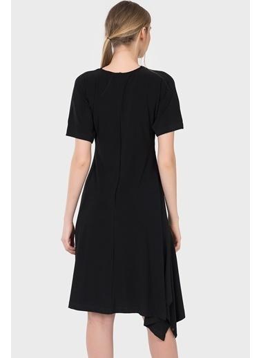 İroni Kısa Kollu Diz Boyu Elbise Siyah